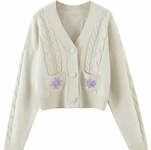 'Kary' Floral Embroidered Cable Knit Cardigan